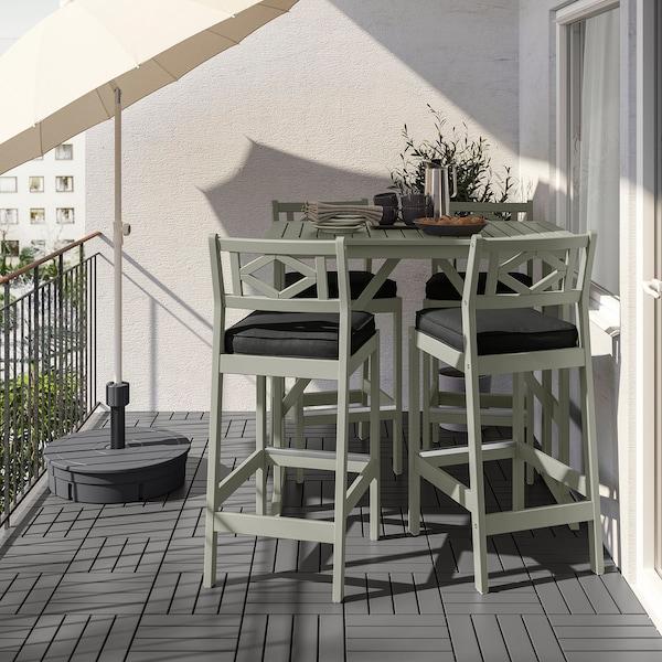 BONDHOLMEN Tavolo e 4 sgabelli bar, mordente grigio/Järpön/Duvholmen antracite