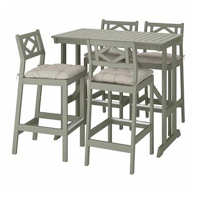 BONDHOLMEN Tavolo e 4 sgabelli bar, mordente grigio/Kuddarna grigio