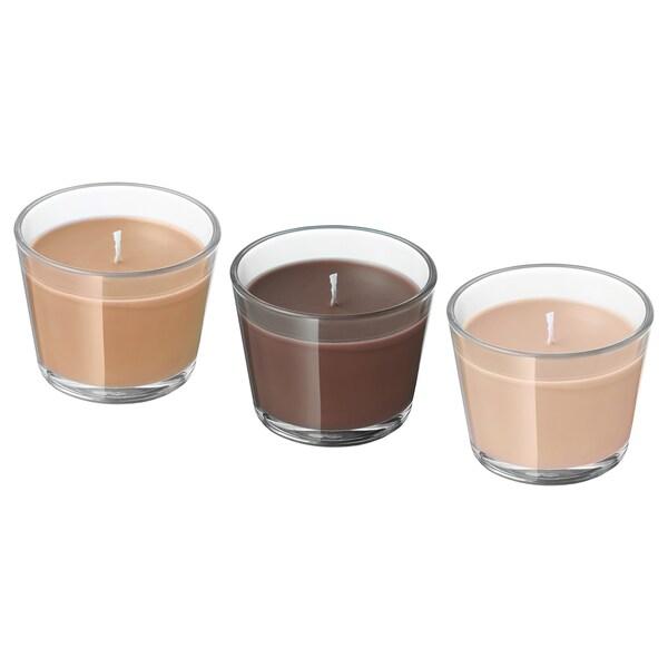 BRÄCKA Candela profumata con vetro, Caramello e cioccolato/beige