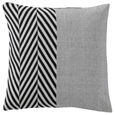 BRANDSPIRA Fodera per cuscino, nero/grigio, 50x50 cm