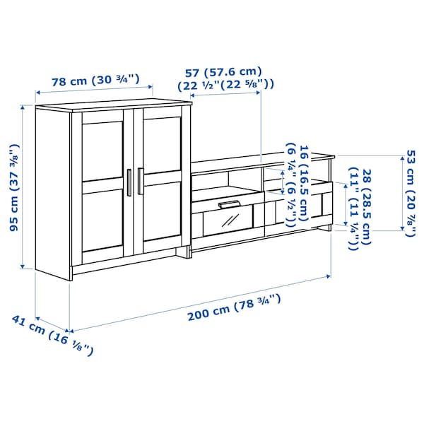 BRIMNES Combinazione per TV, nero, 200x41x95 cm