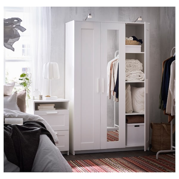 BRIMNES Guardaroba a 3 ante, bianco, 117x190 cm