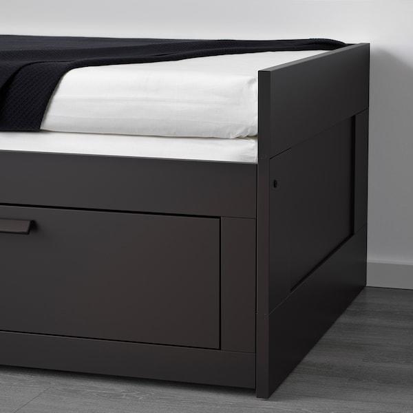 BRIMNES Letto divano/2 cassetti/2 materassi, nero/Malfors semirigido, 80x200 cm