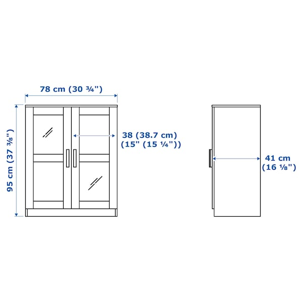 BRIMNES Mobile con ante, vetro/bianco, 78x95 cm