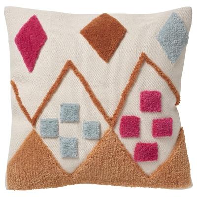 BRUNSTARR Fodera per cuscino, naturale/fantasia, 50x50 cm