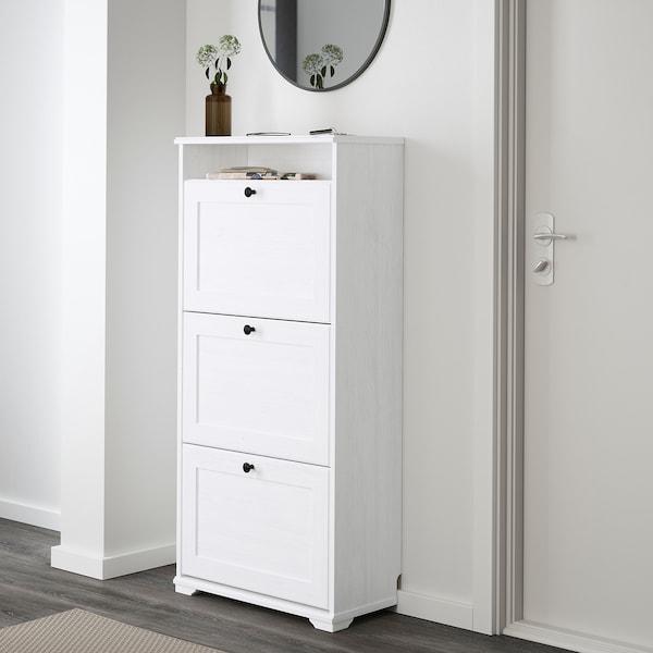 BRUSALI Scarpiera a 3 scomparti, bianco, 61x130 cm