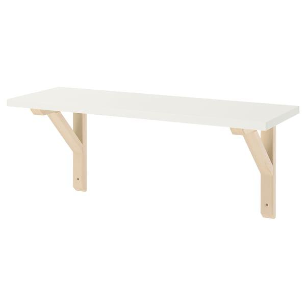 BURHULT / SANDSHULT Mensola e staffe, bianco/pioppo tremulo, 59x20 cm