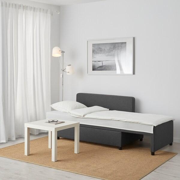 BYGGET Chaise-longue/divano letto, Knisa/grigio scuro con contenitore
