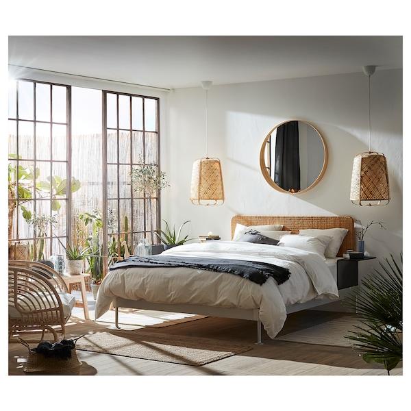 DELAKTIG Struttura letto/testiera/2 tavolini, alluminio/rattan, 160x200 cm