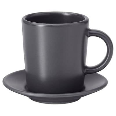 DINERA tazzina per espresso e piattino grigio scuro 9 cm 7 cm 6 cm 9 cl