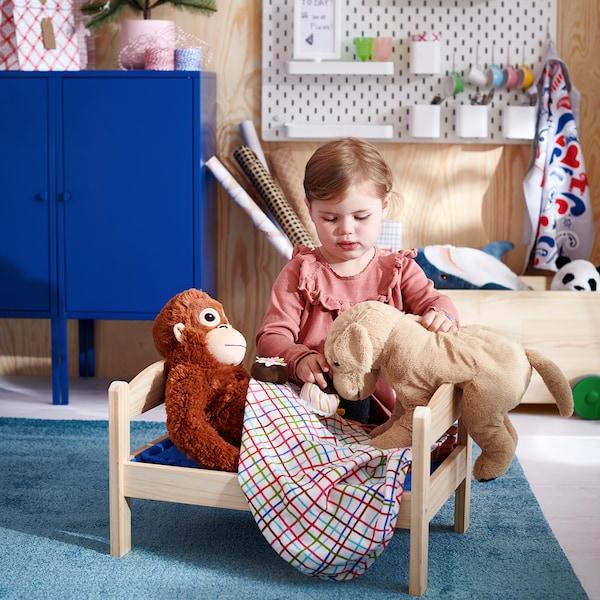 DUKTIG Lettino per bambole con biancheria, pino/fantasia
