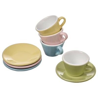 DUKTIG Set tazza/piattino gioco, 8 pezzi, colori vari