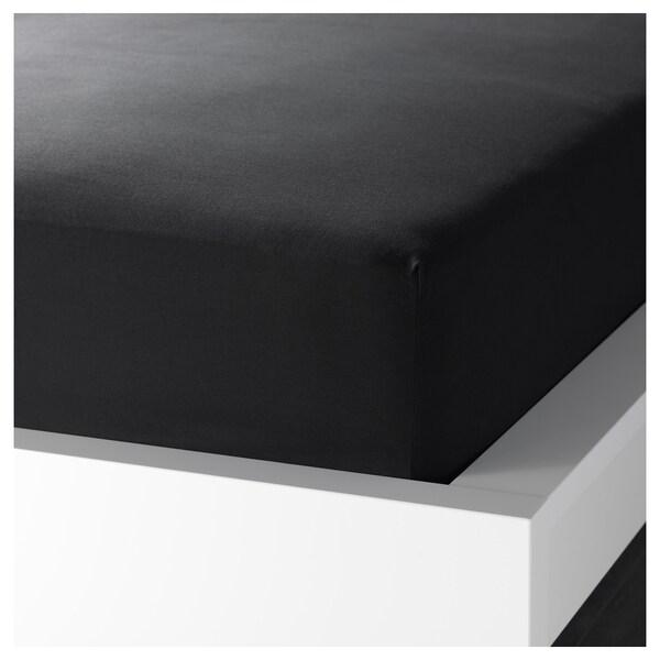 DVALA Lenzuolo con angoli, nero, 160x200 cm