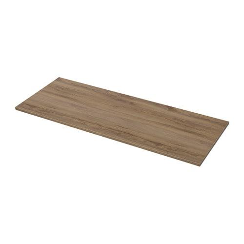 EKBACKEN Piano di lavoro - effetto rovere scuro, 246x2.8 cm - IKEA