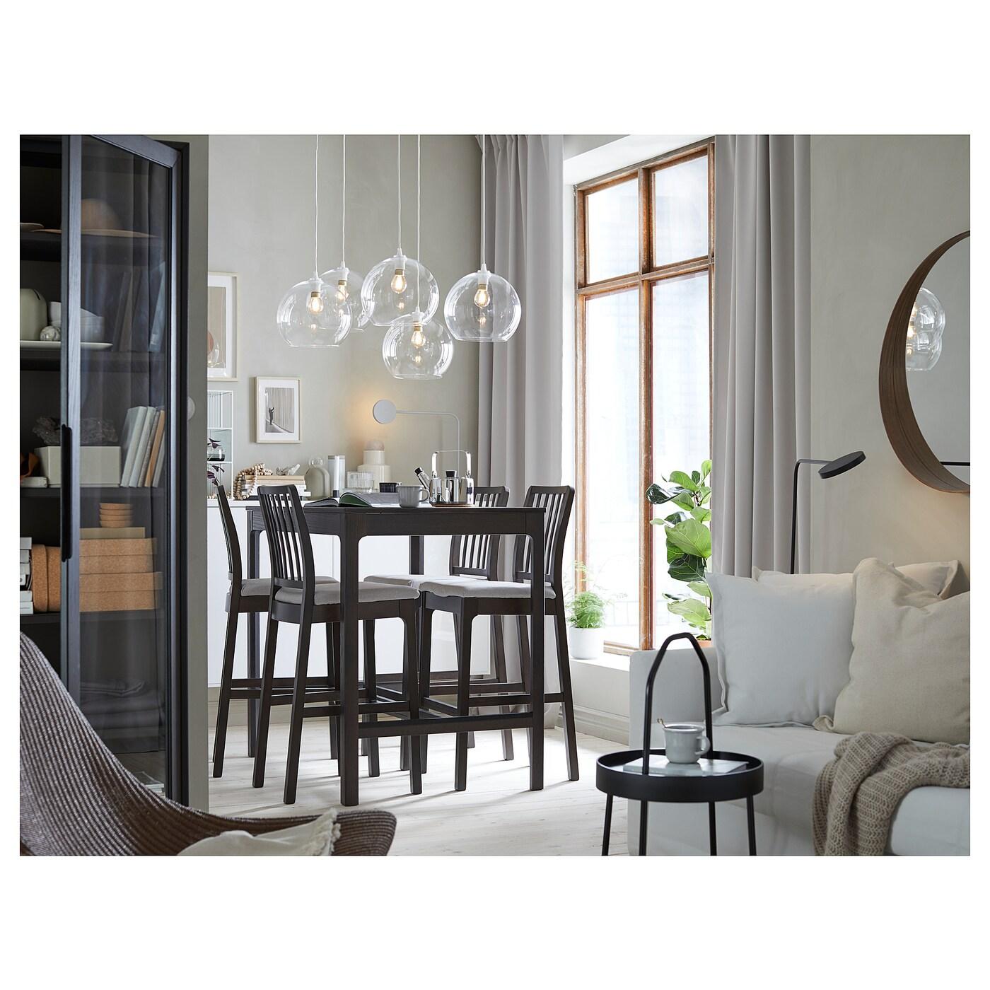 EKEDALEN Sgabello bar con schienale marrone scuro, Orrsta grigio chiaro 75 cm