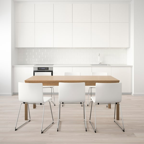 EKEDALEN / BERNHARD Tavolo e 6 sedie, rovere/Mjuk bianco, 180/240 cm