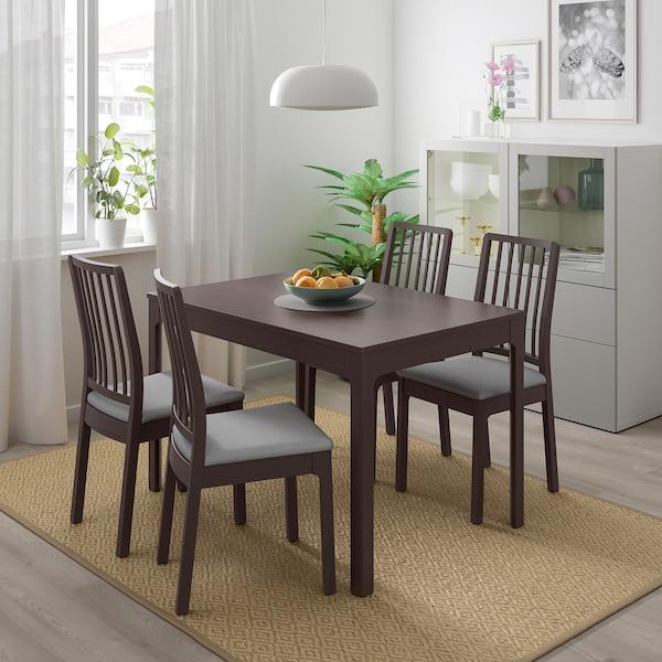 Tavolo e 4 sedie EKEDALEN / EKEDALEN marrone scuro, Orrsta grigio chiaro
