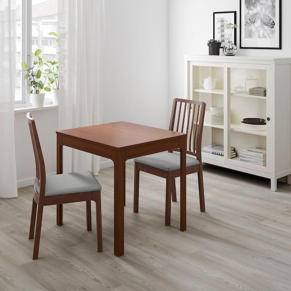 EKEDALEN Tavolo allungabile, marrone, 80/120x70 cm