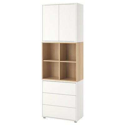 EKET combinazione di mobili con piedini bianco/effetto rovere con mordente bianco 70 cm 35 cm 212 cm