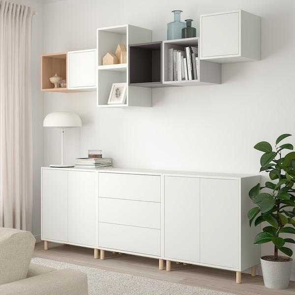 EKET Combinazione di mobili con gambe, bianco/effetto rovere con mordente bianco grigio chiaro/grigio scuro, 210x35x210 cm