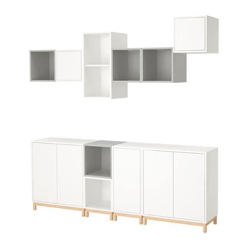 Eket combinazione di mobili con gambe bianco grigio for Gambe per mobili ikea