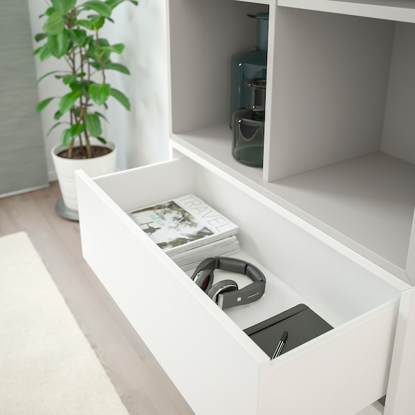 EKET Combinazione di mobili con piedini, bianco/grigio chiaro, 70x35x212 cm