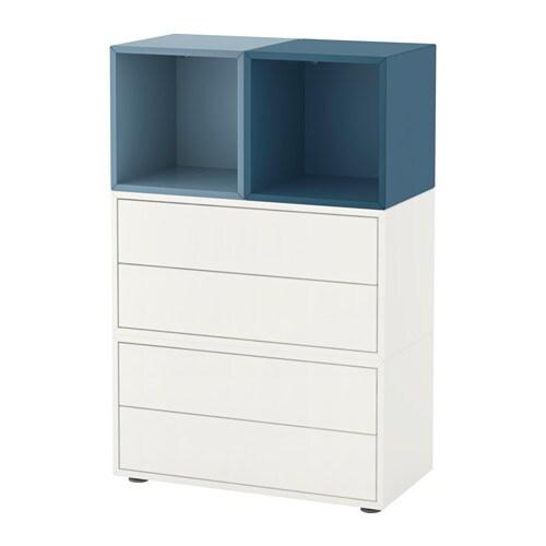 Eket combinazione di mobili con piedini bianco azzurro blu scuro ikea - Piedini mobili ikea ...
