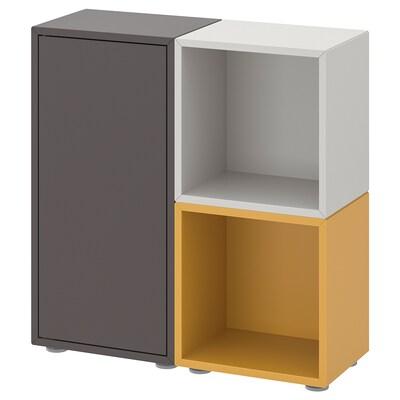 EKET Combinazione di mobili con piedini, grigio scuro/grigio chiaro ocra bruna, 70x25x72 cm