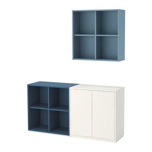 EKET Combinazione di mobili con zoccolo - bianco/azzurro/blu scuro ...