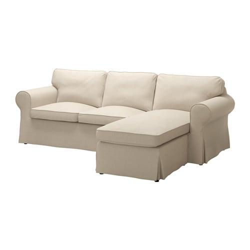 Ektorp divano a 2 posti e chaise longue nordvalla beige for Divano chaise longue ikea