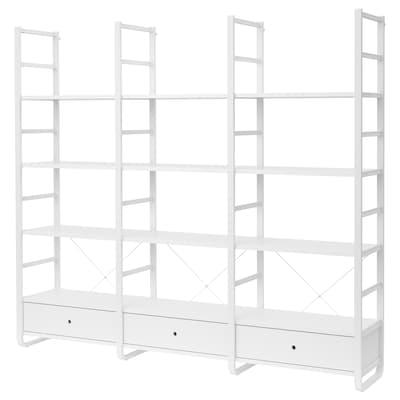 ELVARLI Combinazione a giorno, bianco/bambù, 245x40x216 cm