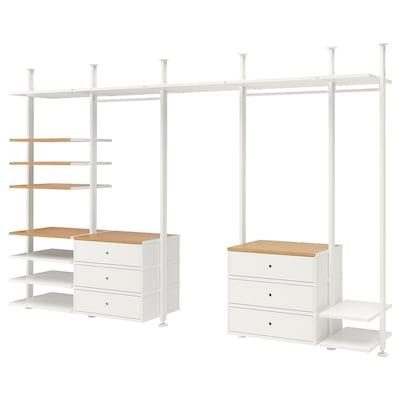 ELVARLI Combinazione di guardaroba, bianco/bambù, 385x51x222-350 cm