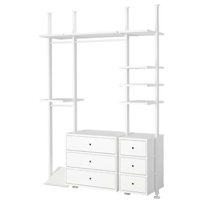 ELVARLI Combinazione di guardaroba, bianco, 178x51x222-350 cm