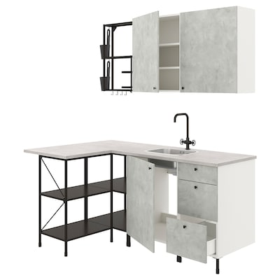 ENHET Cucina angolare, antracite/effetto cemento