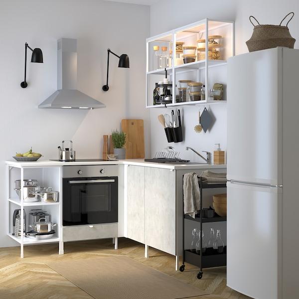 ENHET Cucina angolare, bianco/effetto cemento