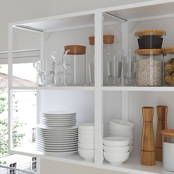 ENHET Cucina angolare, bianco/effetto rovere