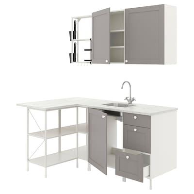 ENHET Cucina angolare, bianco/grigio cornice