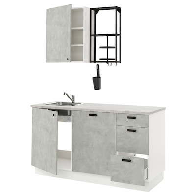 ENHET Cucina, antracite/effetto cemento, 163x63.5x222 cm
