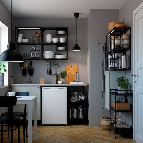 ENHET Cucina, antracite/effetto cemento, 123x63.5x222 cm