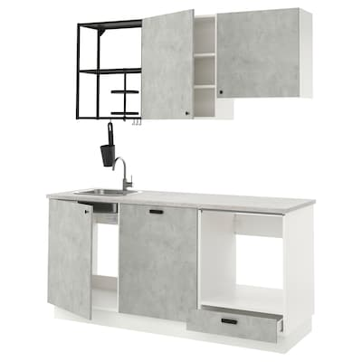 ENHET Cucina, antracite/effetto cemento, 183x63.5x222 cm