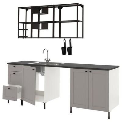 ENHET Cucina, antracite/grigio cornice, 243x63.5x222 cm