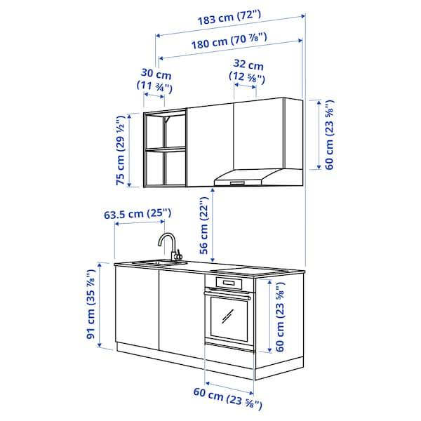 ENHET Cucina, antracite/grigio cornice, 183x63.5x222 cm