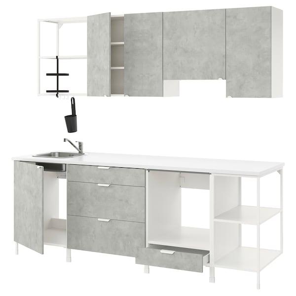 ENHET Cucina, bianco/effetto cemento, 243x63.5x222 cm