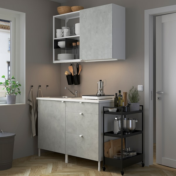 ENHET Cucina, bianco/effetto cemento, 123x63.5x222 cm