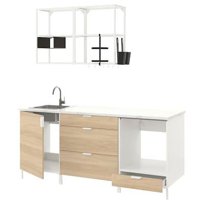 ENHET Cucina, bianco/effetto rovere, 203x63.5x222 cm