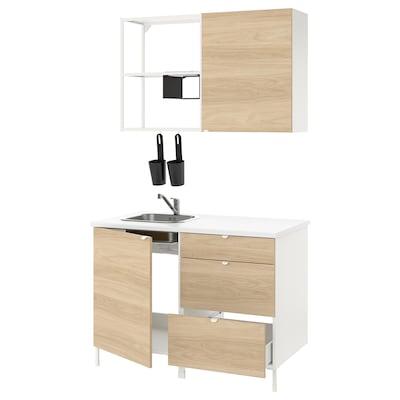 ENHET Cucina, bianco/effetto rovere, 123x63.5x222 cm