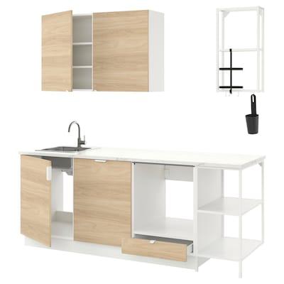ENHET Cucina, bianco/effetto rovere, 223x63.5x222 cm
