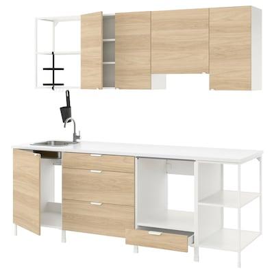 ENHET Cucina, bianco/effetto rovere, 243x63.5x222 cm