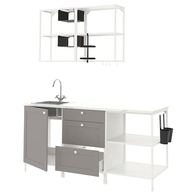 ENHET Cucina, bianco/grigio cornice, 183x63.5x222 cm