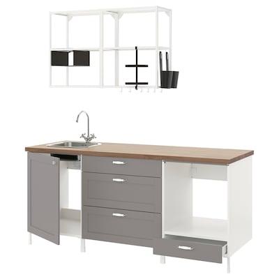 ENHET Cucina, bianco/grigio cornice, 203x63.5x222 cm